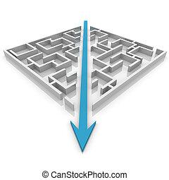 labyrinthe, flèche, coupures