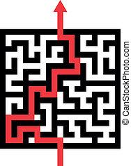 labyrinthe, flèche rouge