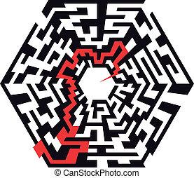 labyrinthe, hexaeder, flèche