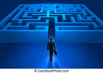 labyrinthe, homme affaires, entrer