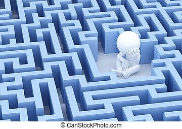 labyrinthe, homme, centre, perdu, triste