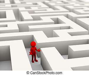 labyrinthe, homme, perdu, 3d