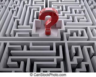 labyrinthe, intérieur, point interrogation, labyrinthe, rouges