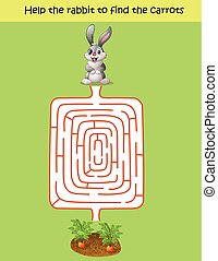 labyrinthe, jeu, aide, lapin, trouver