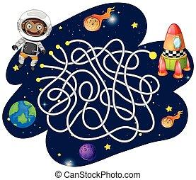 labyrinthe, jeu, astronaute, singe