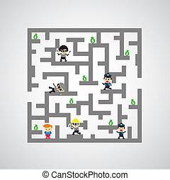 labyrinthe, jeu, contre