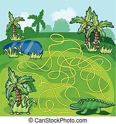 labyrinthe, jeu, crocodile