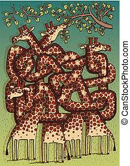 labyrinthe, jeu, girafes