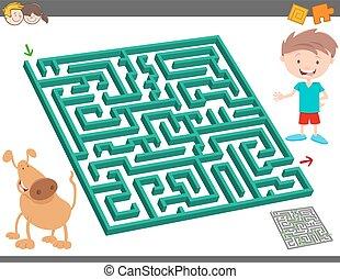 labyrinthe, jeu, gosses, activité loisir