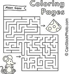 labyrinthe, jeu, souris, dessin animé