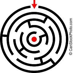 labyrinthe, jeu, vecteur, icône