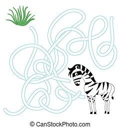 labyrinthe, jeu, vecteur, zebra, manière, trouver