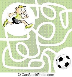 labyrinthe, joueur, boule football, labyrinthe