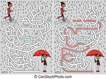 labyrinthe, jour pluvieux