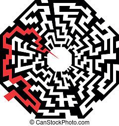 labyrinthe, octaeder, flèche, rouges