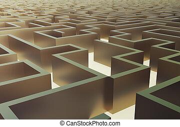 labyrinthe, or, concept., résoudre, illustration, complexe, problème, 3d