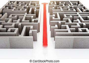 labyrinthe, par, flèche rouge