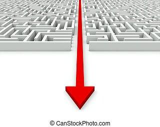 labyrinthe, par, il, flèche, rouges