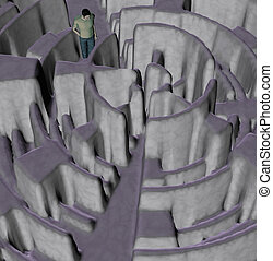 labyrinthe, perdu,  Illustration, homme