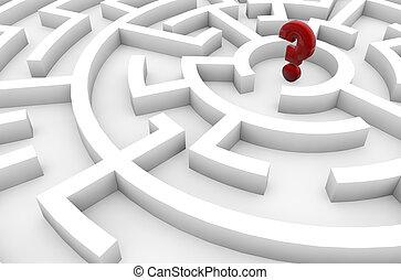labyrinthe, point interrogation