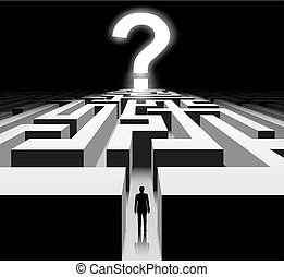 labyrinthe, point interrogation, exit., maze., homme