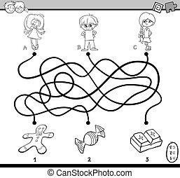 labyrinthe, puzzle, coloration, page