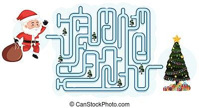 labyrinthe, puzzle, jeu, gabarit, noël