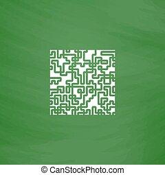 labyrinthe, puzzle, rebus, icône