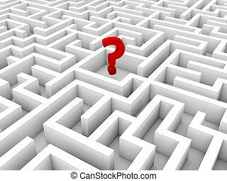 labyrinthe, question, signe