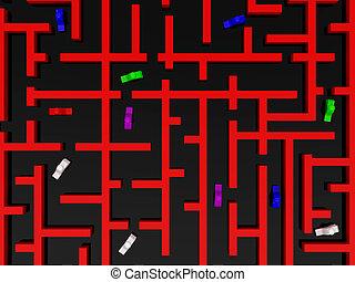 labyrinthe, rouges