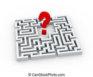 labyrinthe, symbole, 3d, point interrogation