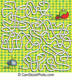 labyrinthe, tã©lã©viseur, jeu, grenouille