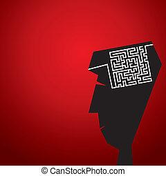 labyrinthe, tête, concept