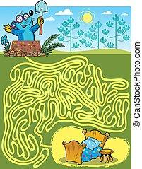 labyrinthe, taupe, trouver, manière
