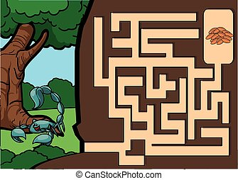 labyrinthe, termitte, à, scorpion