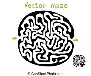 labyrinthe, vecteur, noir