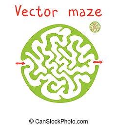 labyrinthe, vecteur, vert