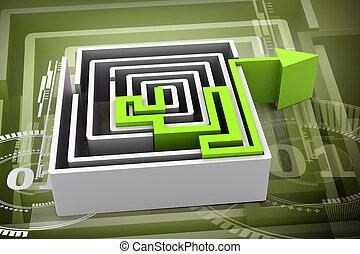 labyrinthe, vert, flèche