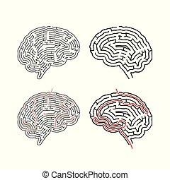 labyrinthes, deux, forme, cerveau, compliqué, solutions, sentier, labyrinthes, blanc rouge