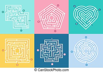 labyrinthes, droit, entrées, gosses, labyrinthe, labyrinthe, illustration, choix, jeu, vecteur, lettres, manière, entrance., ensemble, trouver