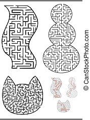 Set of Black and White Mazes or Labyrinths Activity Games