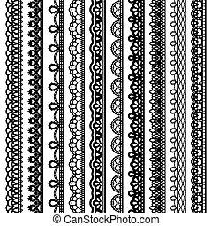 lacé, ensemble, silhouette, vertical, seamless, isolé, arrière-plan., noir, frontières, blanc, design.