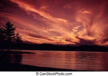 lac, à, coucher soleil, 2