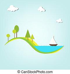 lac, arbres, bateau, paysage