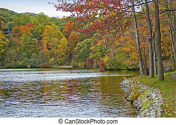 lac, automne, hessian
