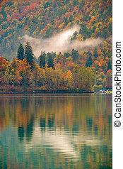 lac, automne, saigné