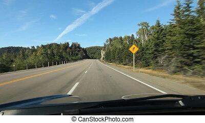 lac, autoroute, supérieur, driving.