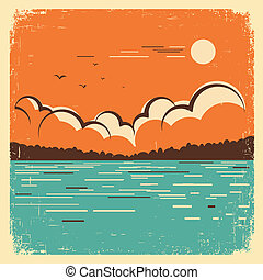lac bleu, vieux, paysage, affiche, grand