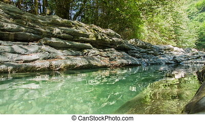 lac, boucle, rochers