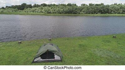 lac, camping, forêt verte, tente